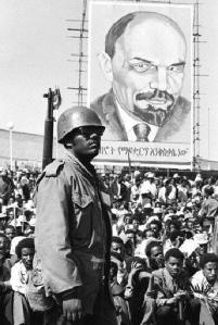Ethiopian soldier and crowd with Lenin